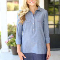 Two Toned Chambray Dress