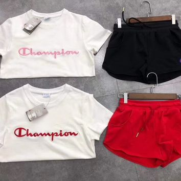 Champion Women Short sleeve Top Shorts Sweatpants Set Two-Piece Sportswear