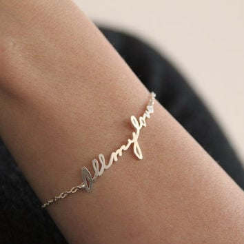 Signature Bracelet, Handwriting Bracelet, Personalized Name Bracelet, Word Bracelet, Nameplate bracelet