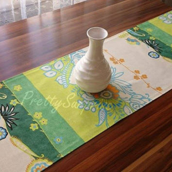 New!! Green Boho Chic Table Runner, Floral Table Runner, Bohemian Table Runner, Garden Decor, Cottage Chic Tablecloth, Colorful Table Runner