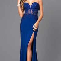 Strapless Floor-Length Prom Dress with Sheer Lace Bodice