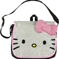 Sanrio Hello Kitty White and Pink Glitter Messenger Bag- tote