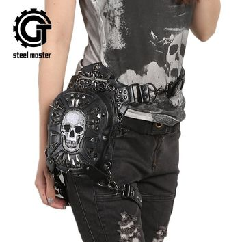 Steampunk Skull Waist Bags for Men Women Punk Style Shoulder Holster Bag