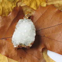 White Druzy Gold Teardrop, Milky White Drusy Agate Dipped in Gold Pendant, Drussy Druzzy Pendant With Loop, Select  With/ Without Chain