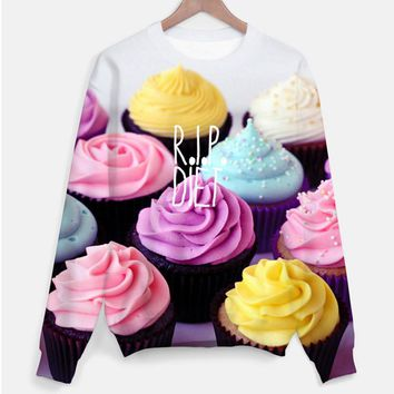 Colorful Cupcakes Graphic Print R.I.P Diet Unisex Pullover Sweatshirt Sweater | DOTOLY