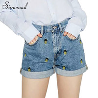 2017 Pineapple embroidery summer jeans shorts women fashion slim high waist denim short feminino po