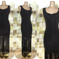 Vintage 90s Retro 20s Black Fringe Sweep Flapper Cocktail Dress Large XL Gatsby Gown