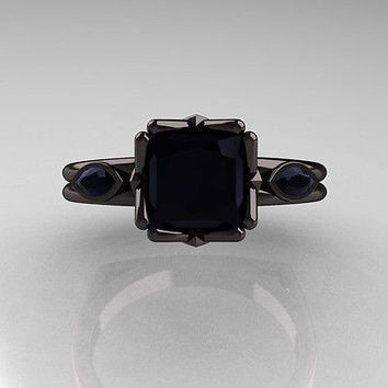 AMAZING 5.20CT BLACK PRINCESS 925 STERLING SILVER ENGAGEMENT AND WEDDING RING