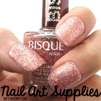 Pink Shimmer- Light Pink Fine Glitter Nail Polish Lacquer 16ml