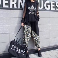 """Adidas"" Women Casual Fashion Multicolor Camouflage Print Hooded Gauze Long Sleeve Harem Pants Trousers Set Two-Piece Sportswear"