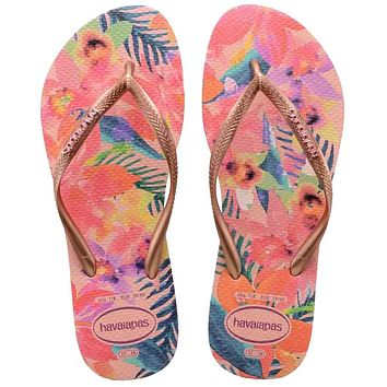 Havaianas Slim Tropical - Ballet Rose Colorful Floral EVA Flip-Flop