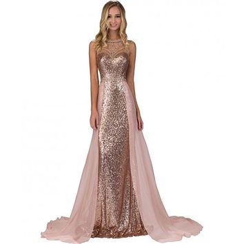 2016 Elegant Pink Prom Dresses Long Sequin Chiffon Backless Beads Ombre Evening Gowns Long Formal Dress