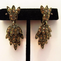 Vintage Designer Estate Gold Glass Rhinestone Cascade of Leaves Drop Clip Earrings