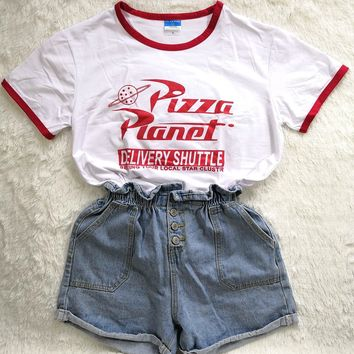 Summer Tshirt Letter Pizza Planet Print Women T Shirt Graphic Tee Top Plus Size Harajuku Funny Trendy Tumblr  Camiseta Feminina