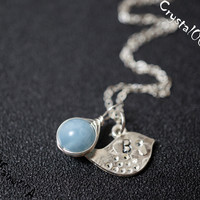 Sterling silver aquamarine stamped initial bird necklace