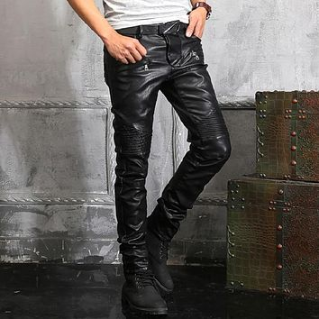 New France Style #903# Mens Ripped Moto Pants Ribbed Skinny Black PU Leather Biker Slim Trousers Size 29-42