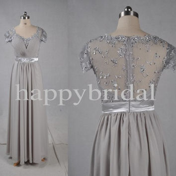 1980s vintage Long Sliver Gray Bridesmaid Dresses Lace Bridesmaid Dresses Prom Dresses Formal Party Evening Dresses