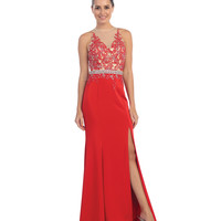 Preorder -  Red Sheer Illusion Halter Floral Lace Applique Gown  2016 Prom Dresses