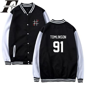 LUCKYFRIDAYF Louis Tomlinson One Direction Baseball Jacket Women Hoodies Capless Sweatshirt Hoodies 2018 Women Jacket Clothes