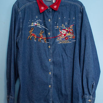 Vintage Bobbie Brooks Denim Christmas Shirt