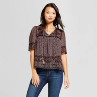Women's Mixed Floral Print Short Sleeve Peasant Top - Knox Rose™ Burgundy