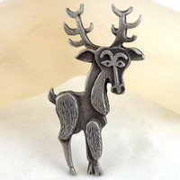 Whimsical Vintage METZKE Pewter Christmas Holiday Reindeer Pin