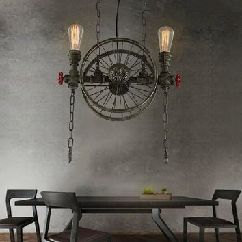 Loft Style Wheel Water Pipe Lamp Edison Pendant Light Fixtures Vintage Industrial Lighting For Dining Room Droplight Lamparas