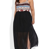 Plus Size Maxi Dress with Tribal Print Bodice and Chiffon Skirt