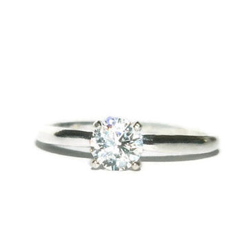 1/2 Carat Diamond Promise Ring, Purity Ring, Sterling Silver