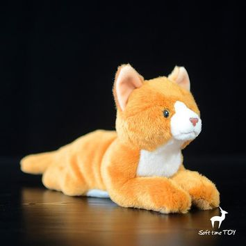 Gold Cat Stuffed Animal Plush Toy 8""