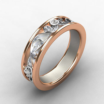 Diamond ring, rose gold, white gold, two tone wedding band, filigree ring, mens wedding ring, wide band, men rose gold, men diamond band