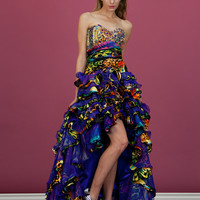 Colorful Fun Animal Print Bright Prom Homecoming Sequin Strapless High Low Dress