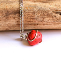 Wire Wrapped Stone Necklace, Red necklace from Hawaii by Mermaid Tears