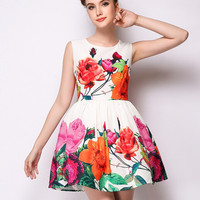 White Sleeveless Floral Mini A-Line Dress
