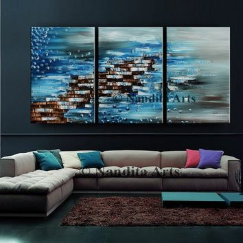 Blue Oil Painting Large Abstract Art Original painting Abstract wall art Texture painting on canvas Abstract canvas art office Decor Nandita