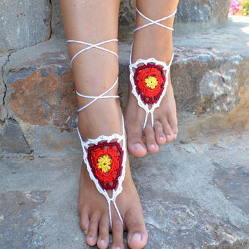 Multi Dreamcatcher Barefoot Sandals,Crochet ,Sexy Foot Jewelry, Beach Wedding, Yoga, Foot Thongs, Hippie, Crochet Sandles