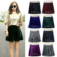 New Girls Elasticsed High Waist Soft Velvet Skater Pleated A-line Short Skirt
