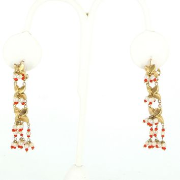 Vintage 2 Inch Charm Dangle Earrings 14 Karat Gold Seed Pearls Estate Fine Jewelry
