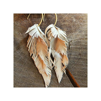 S Leather earrings