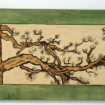 Pine Tree, Wood Wall Decor, Pyrography, Wall Hanging