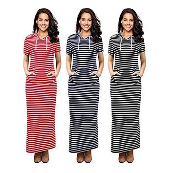Women's Striped Kangaroo Pocket Hoodie Dress, Sizes Small to XLarge