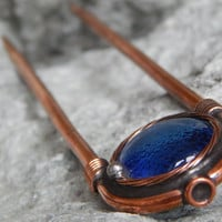 Handmade hairpin Copper hairpin Blue hairpin Wire wrapped pin Hair stick Boho wedding pin Hair jewelry Gift for girlfriend Gift for mom