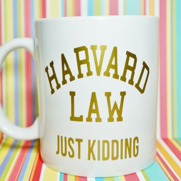 HARVARD LAW SCHOOL JUST KIDDING Mug / LAW Student / FUTURE LAWYER / ATTORNEY TO BE / Student LAWYER / LEGAL Life / LAW School Probs