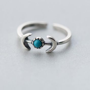 retro Real. 925-Sterling-Silver-jewelry  DOUBLE Crescent moon &simutation blue turquoise Ring 925-sterling-silver GTLJ1143