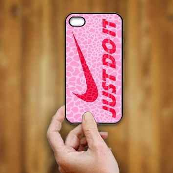Nike Just Do It Pink Giraffe - iPhone 4/4s Case - iPhone 5 Case - Black - White (Option Please)