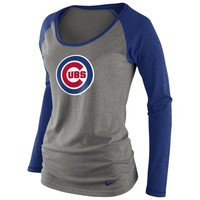 Nike Chicago Cubs Women's Boat Neck Raglan Long Sleeve Tri-Blend T-Shirt - Ash