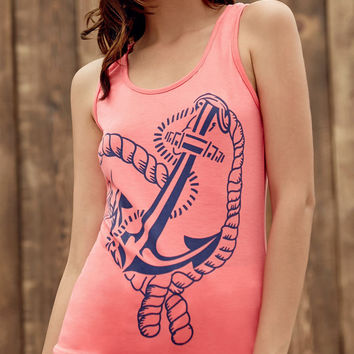 Red Anchor Printed Tank Top