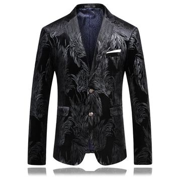 2017 Men Slim Fit Blazer Pattern Designs 3XL 4XL Fashion Stylish Black Velvet Party Blazer For Men