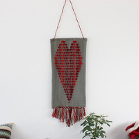 """Handwoven wall hanging - """"Passions"""" - unique piece of handwoven piece of wall art, handmade of pure hand dyed wool"""