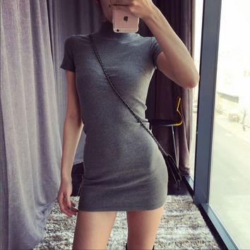 Thread package hip repair tall elastic half-long section of high-necked short-sleeved T-shirt